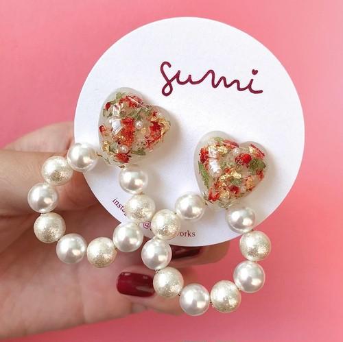 pearl hoop heart / red