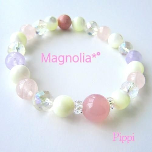 【再販】カルセドニー×ローズクォーツ×ロードナイト 天然石ブレスレット Magnolia*゜