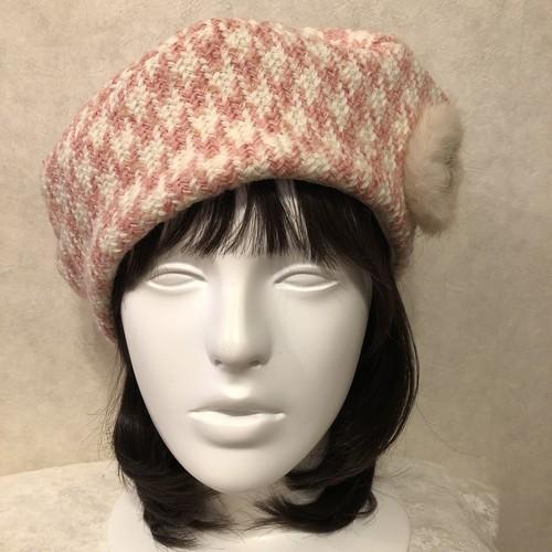 お生地たっぷりベレー帽 ウールピンク