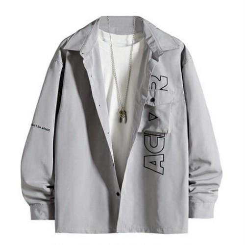 メンズポケットロゴオーバーサイズ長袖シャツ。ブラック/グレー