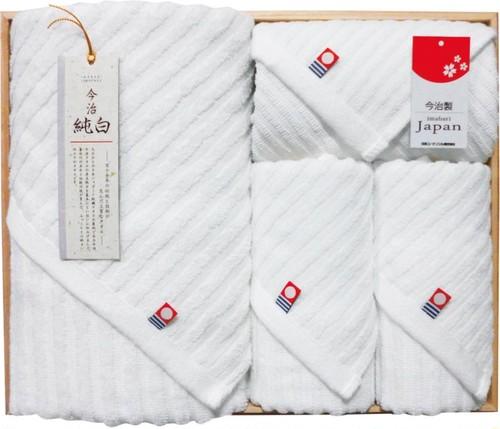 日本名産地タオル今治純晒し タオルセット 木箱入 TMS5007714
