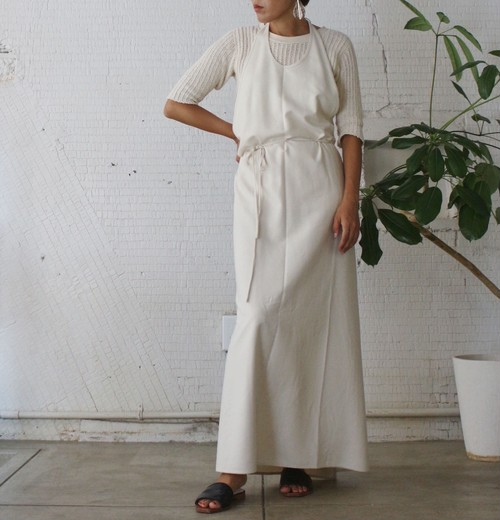 【Baserange】APRON DRESS  RAW SILK