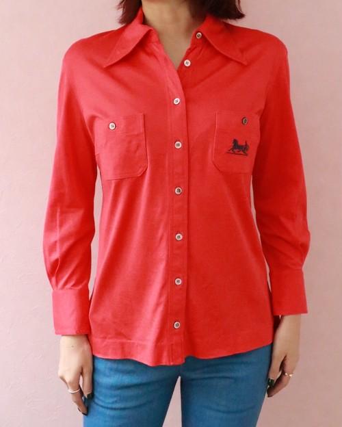 80s CELINE red cotton shirt