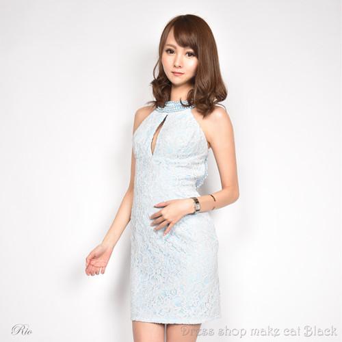 SALE (Sサイズ) 2色展開 ミニドレス  ビジュー刺繍 ドレス パーティー 二次会 0249