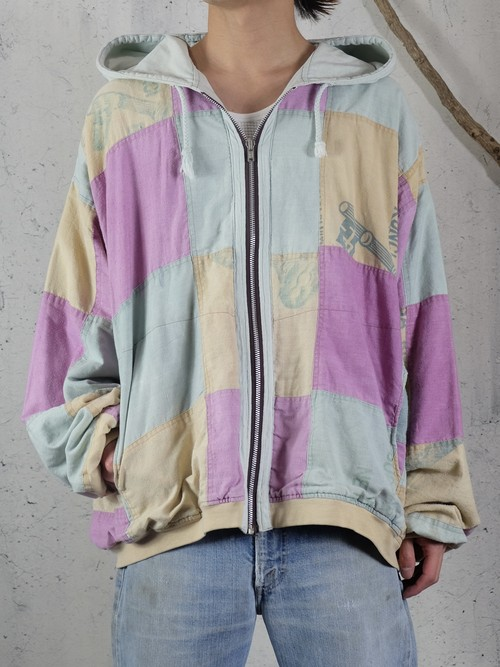 Pale tone patchwork  jacket