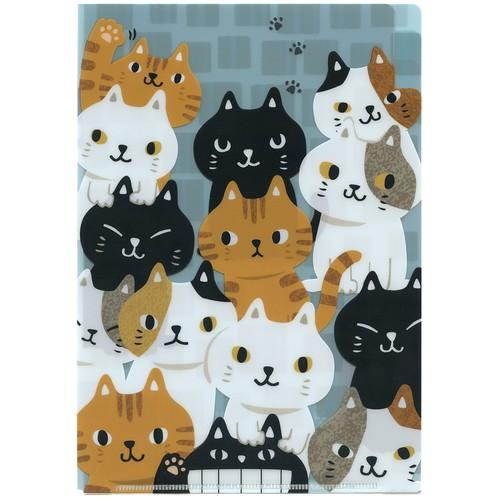 猫クリアファイル(A5ねこねこ)3ポケット構造