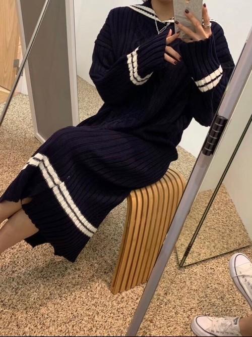ニットセーラワンピース ニットワンピース ワンピース 韓国ファッション