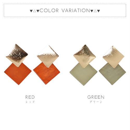 【ピアス】全2色!ダブルスクエアプレートデザインピアス