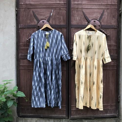 saruche イカット手織りのタッセルワンピース