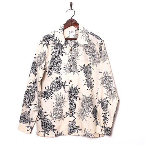 Mountain Mens / 長袖アロハシャツ / Pineapple Navy