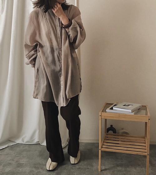 【beige】バンドカラーオーバーシアーシャツ