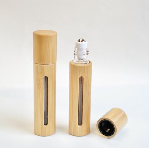 【ロールオンボトル】10ml バンブー ウッド 携帯 ナチュラル 北欧 化粧 アロマ 器材 旅行 詰替 容器