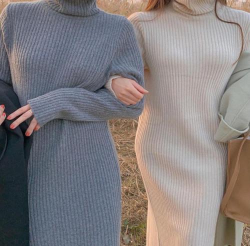 2色 ニットワンピース ロング リブ ハイネック ゆったり カジュアル 大人可愛い シンプル 韓国 オルチャン ファッション