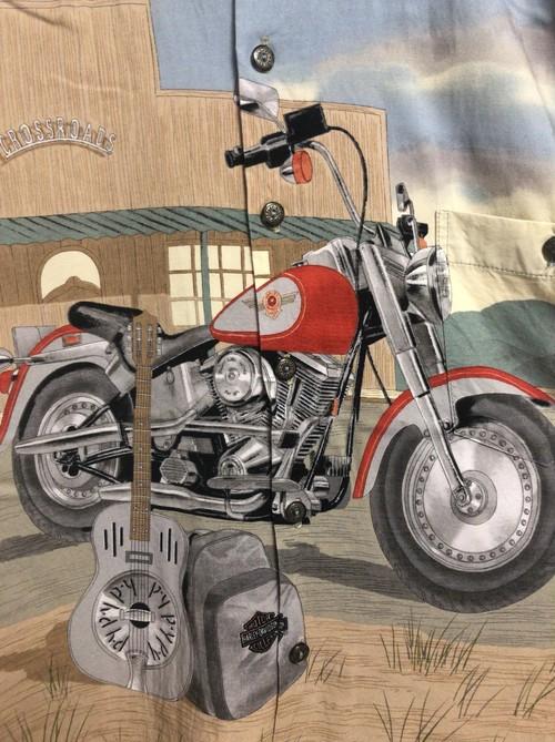 2000's Harley-Davidson guitar&bike hawaiian shirt