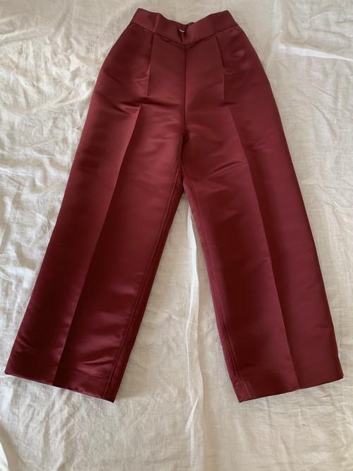 Tucked pants / Burgundy・Gold