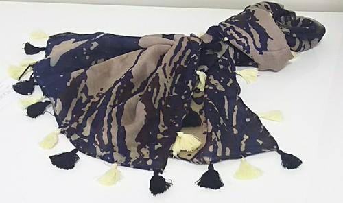 カシミヤ100%フリンジスカーフ