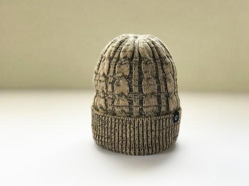 Pureカシミヤ ケーブル柄ニット帽 Beige