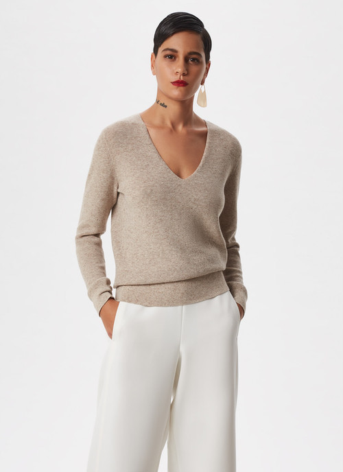 THICK STRETCH MELANGE KNIT SWEATER