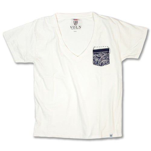 Remake V-Neck Tee White / Blue