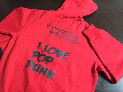 UGR:I LOVE POP PUNKジップアップパーカー(レッド)