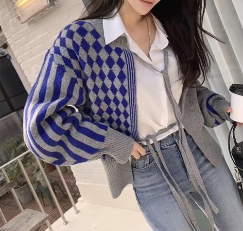 約注文商品 チェック2ウェイカーディガン カーディガン セーター ニット 韓国ファッション