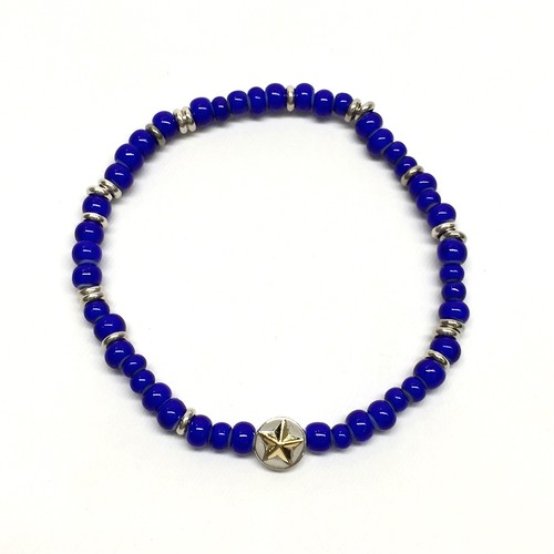 amp japan/White Hearts Circle Star Bracelet -Navy-