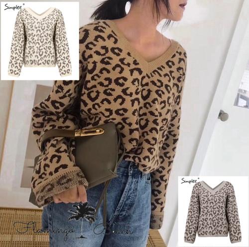 【FlamingoBeach】leopard Knit