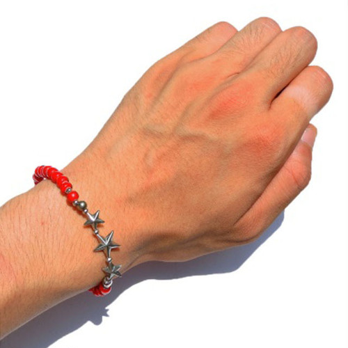SunKu/サンク Star Beads Bracelet White Hearts Beads [SK-139-RED]