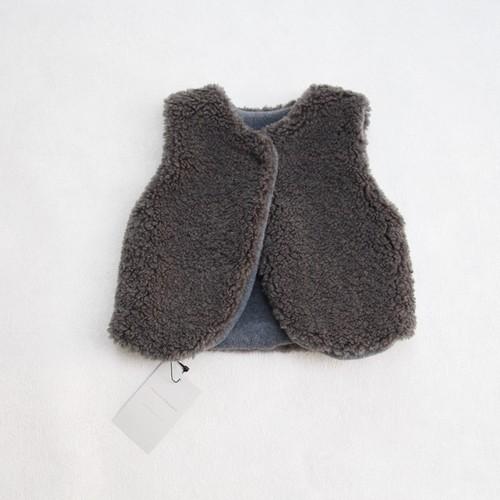 mimi poupons(ミミプポン)/リバーシブルボアベスト/Charcoal(チャコール)/(S/M)