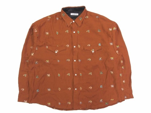WESTERN L/S SKA SHIRTS  BROWN  18AW-FS-18