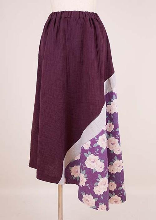 gouk シワが入ったダブルガーゼの生地で作ったスカート 紫 GGD27-S007 PUR/M