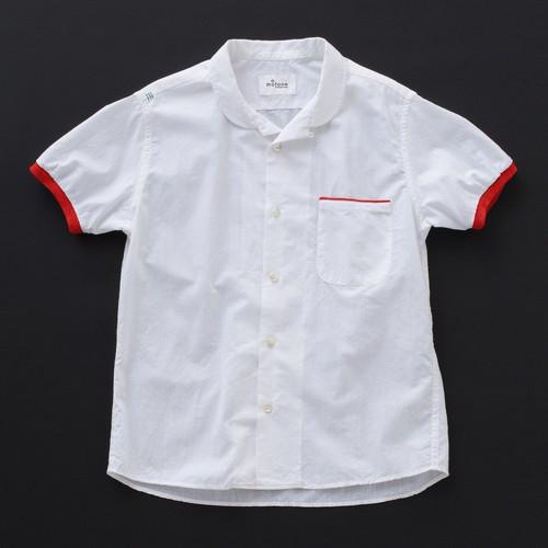 オープンカラーシャツ(丸衿) 白×赤+P