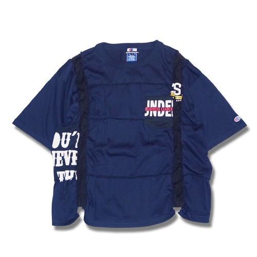 Remake Hand Lock Patching T shirt -Navy #C