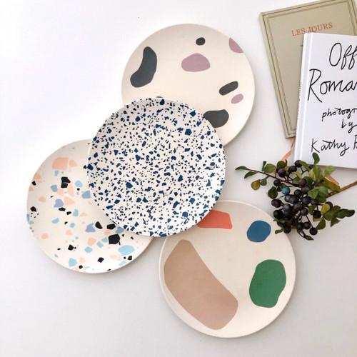 art bamboo plate 4colors / アート バンブープレート 皿 レトロ 韓国 北欧