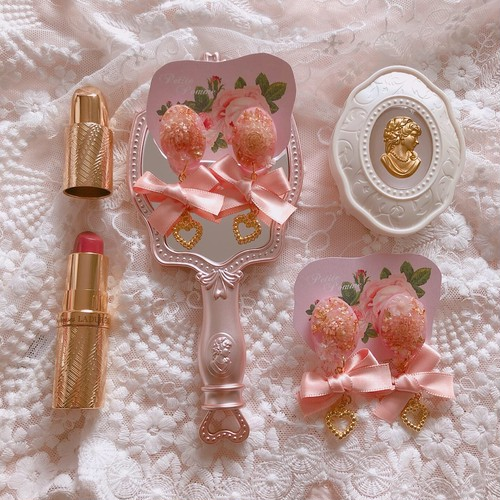 【 イヤリング 】 Flower Cabochon & Pink Ribbon ♡