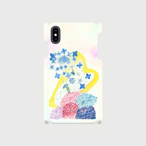 【L】紫陽花とカエル/スマホケースAndroidLサイズ, iPhone6Plus/6sPlus/7Plus/8/8Plus/XR/XS Max