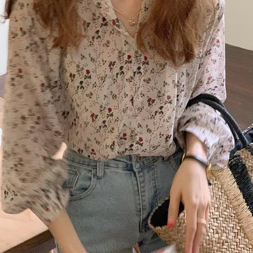 夏 オシャレ レディース 折り襟 長袖 日焼け止め 韓国ファッション 花柄 ブラウス・トップス