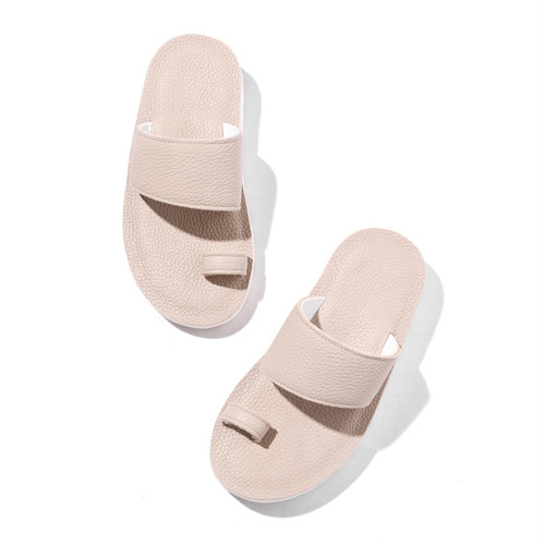 LEATHER SANDAL [BEIGE . NAVY]