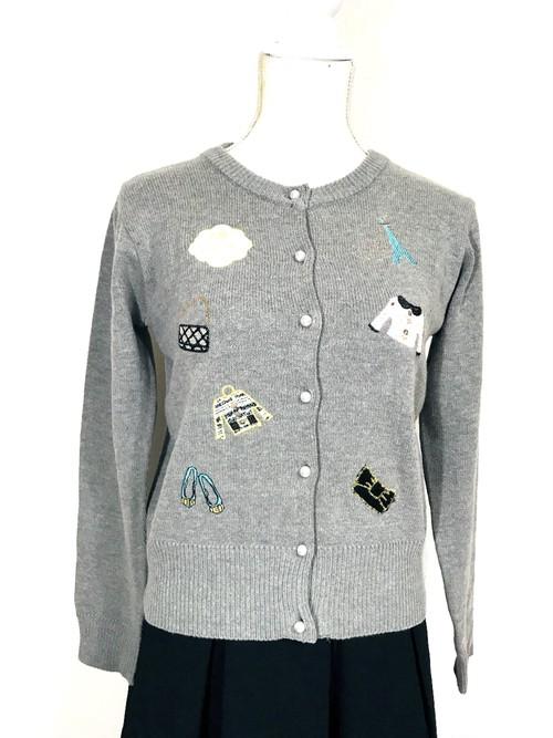 ニット素材のカメリアツイードバッグ刺繍カーディガン グレー