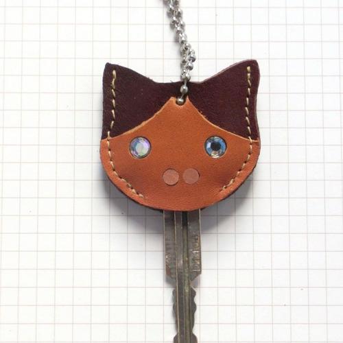 【送料無料】猫の本革キーカバーM KCM107