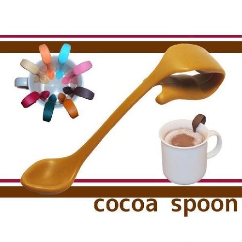 お友達へのプレゼントや誕生日ギフト/コーヒーカフェラテに便利な贈り物クリップ式ココアスプーン(イエロー)