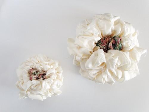親子でおそろい裂織ペアコサージュ『織織花』