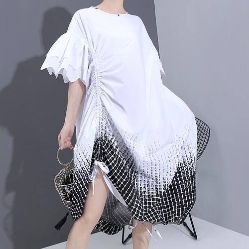 ワンピース サイドストラップ 裾チェック柄 半袖 韓国ファッション レディース 巾着 ゆったりウエスト ルーズ 大人カジュアル 大人可愛い