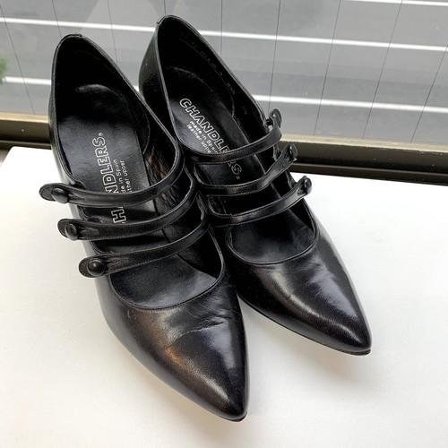 80s black classic heel pointy pumps