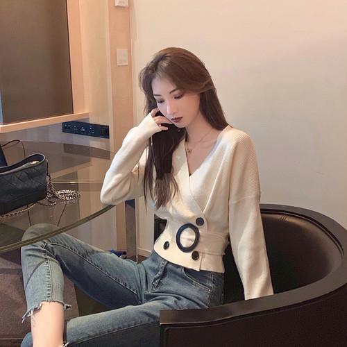 「トップス」OL気質ファッションvネックハイウエストニット3色エレガントセーター