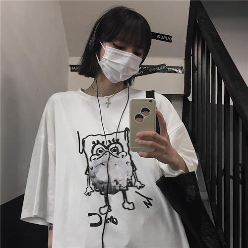 【トップス】新作韓国風ゆったりカートゥーンゆったりTシャツ