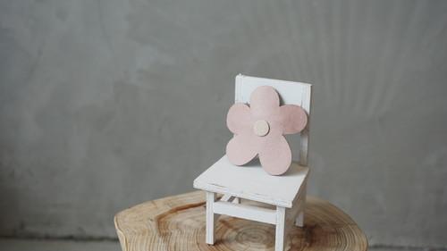 フェイクレザー花柄クリップ