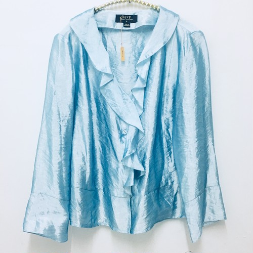aqua blue metallic blouse