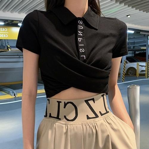 【トップス】取り入れたいファッションレトロPOLOネックプルオーバーTシャツ27335165