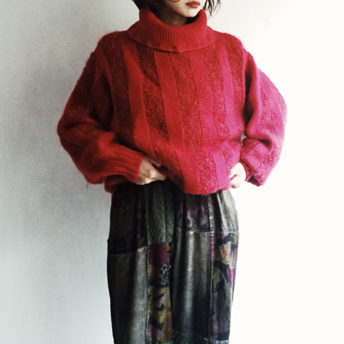 Japanese used vintage Red knit